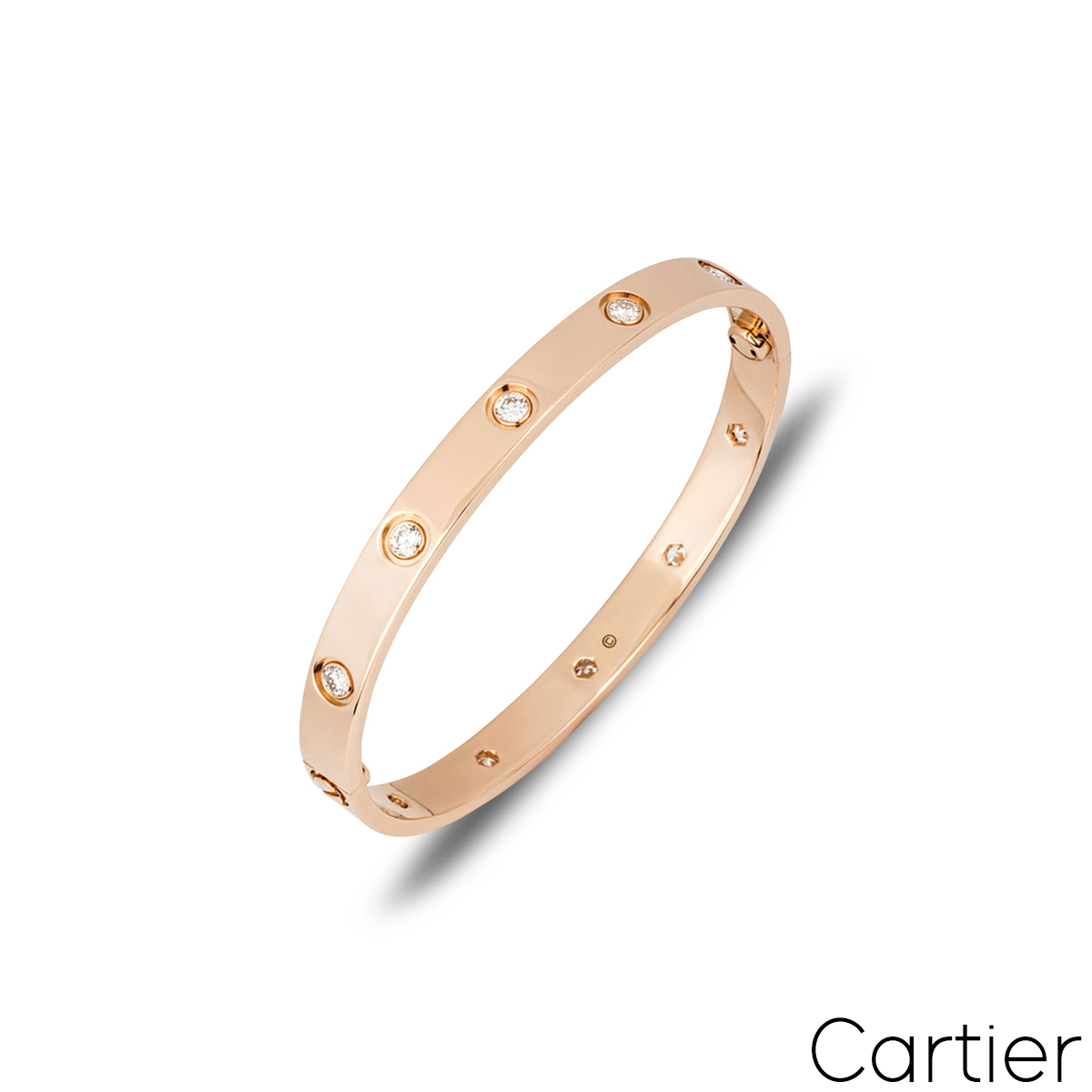 Cartier Rose Gold Full Diamond Love Bracelet Size 16 B6040616
